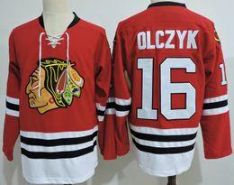 Wholesale Game Wear - Mens Chicago Blackhawks ED OLCZYK Throwback VINTAGE Jerseys Stitched #16 ED OLCZYK Black hawks 1999 Game Worn Red hockey Jersey S-3XL
