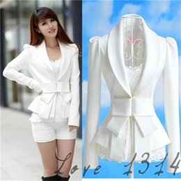 Wholesale White Blazer Cheap - Cheap White Womens Blazers Fashion Bodycon Autumn OL Suits V Neckline Long Sleeves Design Cotton Blends Coat White Autumn Hot Sale 7327