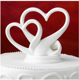 "Wholesale Double Heart Wedding Topper - Cearamic Cake Topper ""You're the Top"" Interlocking Double Hearts Cake Topper Wedding Favors Table Decorations Retail"