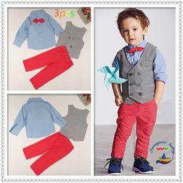 Wholesale Gentleman Style Boy Clothes - Spring Autumn Children Clothes Sets Gray Vest Blue Long Sleeve Shirts Red Pants Boy Gentleman Three Piece Sets 2-7Y 5512