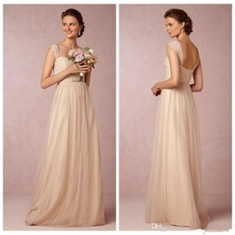 Wholesale Cheap Cashmere Tops - Cashmere Convertible Dresses A line Soft Tulle Maid of Honor Dress Cheap 2017 One-Should Sleeveless Bridesmaid Dress Long Prom Gown Lace Top