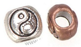 Wholesale China Pandora Bracelets - Wholesales Beads DIY Pandora Charms Bracelets Large Hole Antique Silver Round China Tai Ji Design Metal Jewelry Components 9*9*8mm 100pcs