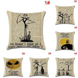 Wholesale Patchwork Cushion Covers - Fashion Car Sofa Decor Throw Cushion Cover Nightmare Before Christmas Cartoon Pattern Halloween Pillow Case