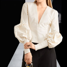 Wholesale Designer Ladies Shirt - Designer Fashion Women Blouse 2018 Spring Autumn Office Lady Work Deep V Neck Lantern Sleeve Shirts Party Cocktail Tops Plus Size 3XL 4XL
