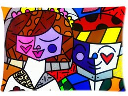 Wholesale Romero Case - Married Romero Britto Home Decoration Office Bed Sofa Waist Zippered Pillow Cases Cushion 16x24 (Two side)