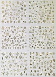 2019 weihnachtsnagelarten 3D Nail Sticker Weihnachten Hot Style Nagel Decals Gold Und Silber Weihnachten 3D Nail art Aufkleber Aufkleber Dekorieren Nagel Decals Nail art günstig weihnachtsnagelarten