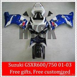 Wholesale Suzuki Motor Cover - Free Gifts Fit SUZUKI GSXR 600 750 GSX-R600 GSX-R750 2001 2002 2003 01 02 03 K1 Fairing Set Blue White Custom Complete Motor Body Cover