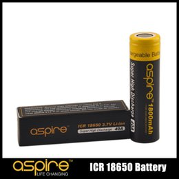 Wholesale Aspire High - 100% Original Aspire ICR 18650 Battery Protected 3.7V Li-ion 1800 2600mah 40 20A High Discharge Current Batteries