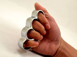 Wholesale Wholesale Free Shipping Self Defense - 10PCS THICK CHROMED STEEL BRASS KNUCKLES KNUCKLE DUSTER Self Defense Protective Gear DHL FEDEX Free Shipping
