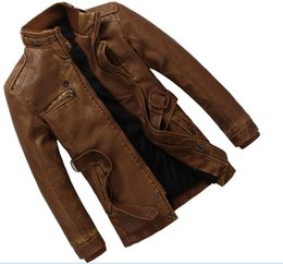 Wholesale Leather Men Coat Very - NEW 2018 Winter Very warm Thick Leather Faux Leather Coats Casual flocking PU long Leather Jacket Men's Clothing size M-3XL