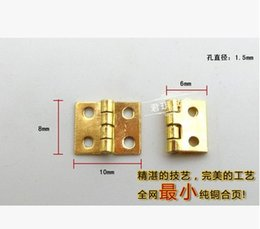 Wholesale Hinges Screws - 20Pcs Mini Cabinet Drawer Butt Hinge brass small hinge 4 small hole 8*10 copper hinge With screws A3