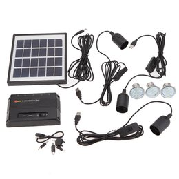Wholesale Leds Solar Cells - Garden Pathway Stair Camping Fishing USB 5V Cell Mobile Phone Charger Home System Kit Outdoor Solar Powered 3 LEDs Light Lamp L0333