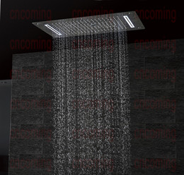 2019 doppelregen duschköpfe Luxus Badezimmer LED Decke Duschkopf Zubehör SUS304 700x380mm Funktionen Regen Wasserfall Nebel Bubble Shower DF5422 günstig doppelregen duschköpfe