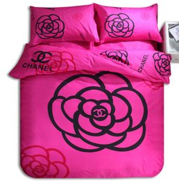 Wholesale Queen Size Pink Comforter - Home Textiles Rose Gray pink Flowers Full Queen Size Polyester 4pcs bedding sets bedclothes sheet duvet cover pillowcase Linge de lit