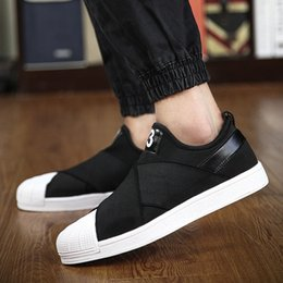 Wholesale Korean Men Fashion Shoes - Casual Shoes For Men Fashion Trend Korean Mens Skateboarding Shoes Cross-Tied Shell Round Toe Design Man Slip-On Shoes Retail H665
