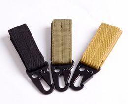 Wholesale Tactical Nylon Webbing - Real New Gadget 3 Pcs lot Outdoor Tactical Military Nylon Key Hook Molle Webbing Belt Buckle Hanging Carabiners Metal