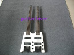Wholesale Double Neck String Bass - wholesale !! headless Double neck Electric bass d 6 strings bass guitar with qulited maple Free Shipping double neck bass guitar an