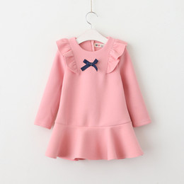 Wholesale Long Line Dress Watermelon - Everweekend Kids Girls New Spring Clothing Western Fashion Bow Party Dress Ruffles Candy Color Long Sleeves Dress