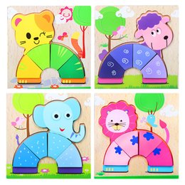 Wholesale 3d Puzzle Tank - Wooden 3D Puzzle Jigsaw Wooden Toys For Children Cartoon Animal Puzzle Intelligence Kids Educational Toy Toys