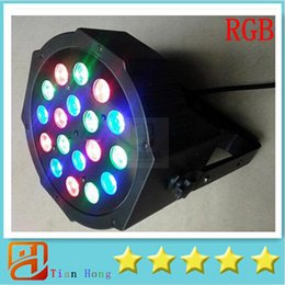 Wholesale High Power Rgb Led Dmx - DHL Free shipping Big Led stage light 18x3W 54W 85-265V High Power RGB Par Lighting With DMX 512 Master Slave Led Flat DJ Auto-Controller