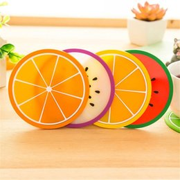 Wholesale Fruit Placemats - Wholesale- Placemat Fruit Coaster dishes Colorful Silicone Cup Drinks Holder Mat Tableware Placemats Nov28MAY17