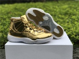 Wholesale Christmas Ball Top - 2017 Orignals New Air Retro 11 Luxury Gold Color Basketball Shoes for Men Sports Shoe Sneakers Top Quality Brand Basket Ball Training Shoe