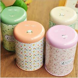 Wholesale Mini Iron Boxes - Mini Storage Tank Box Iron Round Sealed Cans Tea Tin Korean Pastoral Small Floral Vintage Romance Home Coffee Supplies Random