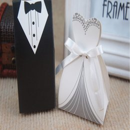 Wholesale Cheap Black Gift Boxes - 2015 cheap Wedding favor Boxes Groom &Bride Papery 100pecs  Lot Special Wedding Party Favors For Wedding Gust Gifts