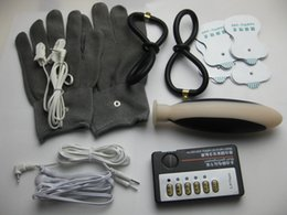 Wholesale Gloves Anal - 5-in-1 BDSM Electric Shock Bondage Gear Kit Silicone Vaginal Plug Silver Fiber Gloves Ear Labia Clamps Vagina Anal Rings Pads Sex Toys