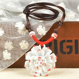 Wholesale Ceramic Jewelry Pendants - 2015 Newly Ceramics Flowers Porcelain Traditional Jewelry Knitted Lotus Pendant Sweater Necklaces Adjustable Y60*SS0053#M5