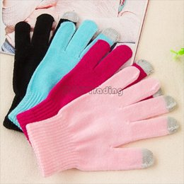 Wholesale cheap touch screen cellphones - Cheap Winter Warm Touch Screen Gloves For Table And Cellphone Stretchable Solid Colors Knitted Fingers Gloves 50pcs Free Ship