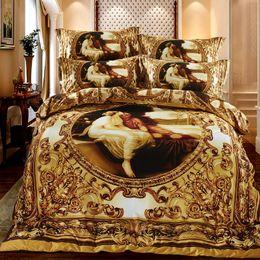 Wholesale 3d Oil Painting Bedding 4pcs - Luxury 3D Oil Painting 4pcs Queen Size Bedding Set Thick Cotton Bedlinens Duvet Cover Set Printed Bed cover Pillow Cases