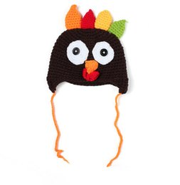 Wholesale Warm Chicken - Lovely Cartoon Chicken Colorful Knitted Caps Infant Baby Winter Warm Crochet Earflap Hats Handmade Newborn Photography Props K1194