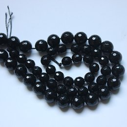 """Wholesale Onyx Faceted Bead - 4 6 8 10 12 14mm Faceted Black Agata Onyx Round stone Beads 15"""" Pick Size Free Shipping"""