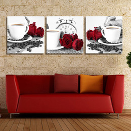 Wholesale Seascape Wall Art Set - 3 Piece Home Decorative Wall Rose Coffe Kitchen Hone Modern Wall Painting Art Picture Paint on Canvas Prints Picture Set