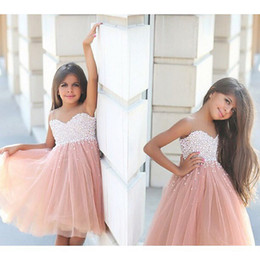 Wholesale Collared Girls Party Dress - Sadek Majed Girl Pageant Dresses New Flower Girl Dresses 2016 Kids Dresses Pearls Sheer Neck Beading Wedding Party Dresses Formal