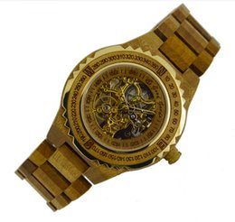 Wholesale Wood Wrist Watch Mens - Europe business gift Gent watch classic men vintage wood clock gold skeleton fully Automatic mechanical designer mens wooden wrist watches