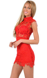 Wholesale Sexy Dress For Night Party - 2016 Prom Celebrity Club Party Dress Summer Lace One-piece Hollow Out See-through Sleeveless Floral Sexy Empire Mini Dresses for Women