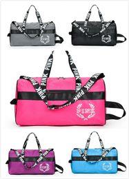 Wholesale Body Fitness - PINK Duffle Handbags Pink Shoulder Bags Sports Fitness Bags PINK Large Capacity Travel Duffle Waterproof Beach Bag Shoulder Bag DHL Shipping