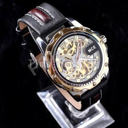 Wholesale Mens Watches Automatic Genuine - Hot Luxury MCE Genuine Leather Skeleton Mens Suit Wrist Watch Automatic Mechanical Watches