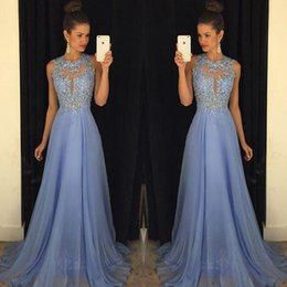 Wholesale Light Green Chiffon Prom Dresses - Lavender 2016 Prom Dresses Lace Applique Beads 2017 Formal Long Bridesmaid Dresses A Line Crew Neck Zip Back Chiffon Party Gowns