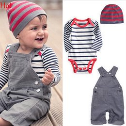 Wholesale Clothes Newborn Jeans Boy - 2015 Kids Overall Clothes Newborn Striped Romper Baby Denim Suspenders Pants Jumpsuits Toddler Jeans Infant Boys Girls Denim Pants SV006645
