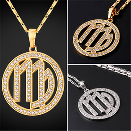 U7 New Zodiac Charms VIRGO Pendant Necklace Simple Women Men Jewelry Gift  Rhinestone Gold Platinum Plated Necklace Perfect Gifts P2508 623a1dc9ea7e