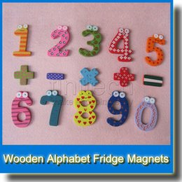 Wholesale Wholesale Language Learning Tools - Wooden 10 Figure Numbers+5 Punctuation Marks Baby   Children Educational Tool Colorful Fridge Stick Magnet Learning Wooden Fridge Magnetic