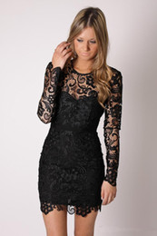 Wholesale 2015 date noir robes de cocktail en dentelle manches longues ras du cou gaine court mini moderne Design robes de soirée robes de bal sur mesure C52