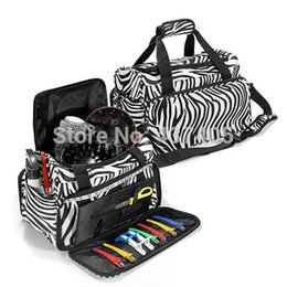 Wholesale Zebra Print Hair - Practical Luggage Travel Salon Hair Tools Hairdressing Zebra Carry Case Diaper Duffle Bag with Strap