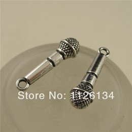 Wholesale Silver Plate End Beads - A1817 Wholesale Silver Jewelry Findings Silver Plate Microphone Music Instrument