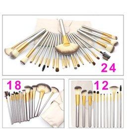 Wholesale 24 Pcs Makeup Brushes - 12 18 24 Pcs Professional Makeup Brushes Set Soft Synthetic Make Up Brush Eyeshadow EyBlush Eyeshadow Brush Set with Leather Bag
