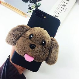 Wholesale Mobile Phone Case Dogs - Fashion Winter Warm Plush Cute Dogs Balls Lovely Bear Fur Mobile Phone Case For iPhone 6s 6 7 8 Plus Protective Case Cover For iPhone X Capa