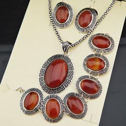 Roter ovaler achat online-Neue Ankunft 3 stücke Vintage Antikes Silber Überzogene Natürliche Oval Rot Achat Stein Ohrringe Armband Halskette Frauen Schmuck-Set A791